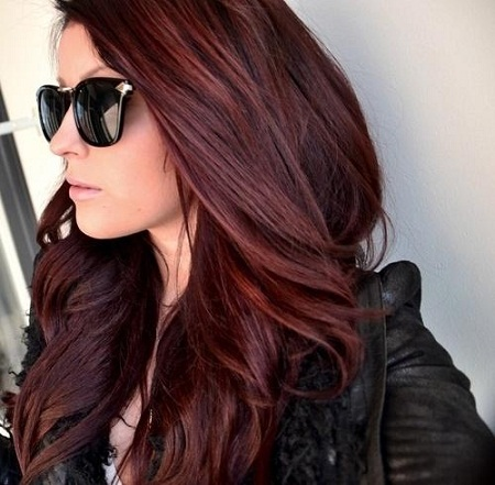 Long Dark Red Hair Color Style