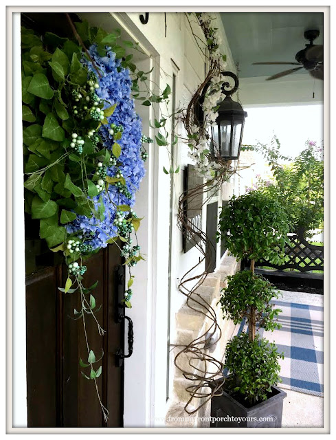 southern front porch-Topiaries-plaid rug-hydrangea wreath-From My Front Porch To Yours