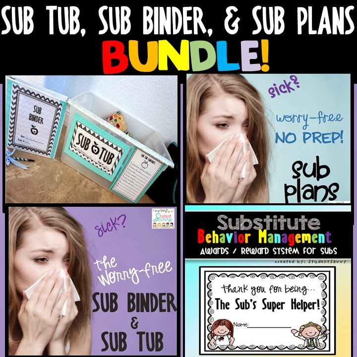 StudentSavvy: Sub Tub, Sub Binder, And Freebies