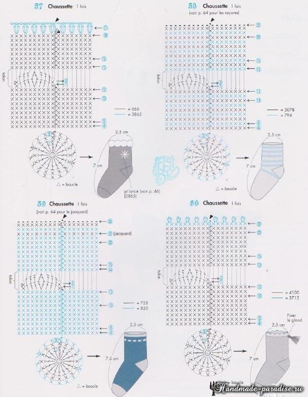 Схемы вязания крючком носочков (2)