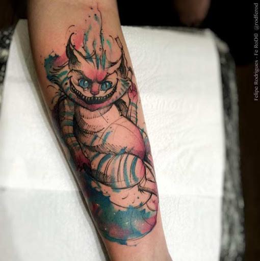aquarela gato de Cheshire tatuagem