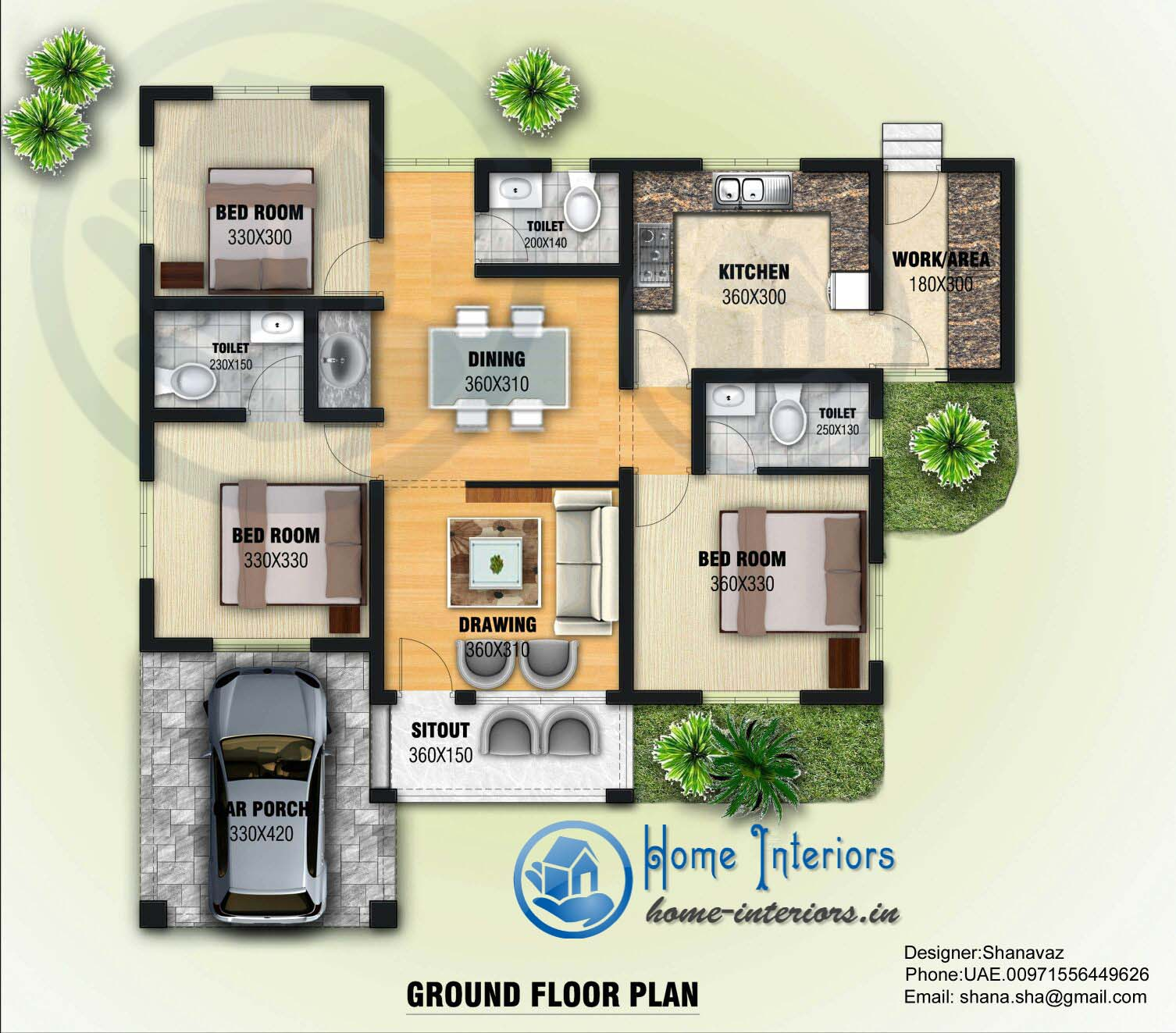 Modern Kerala Home Design: Small Plot 3 Bedroom Single Floor House In Kerala With