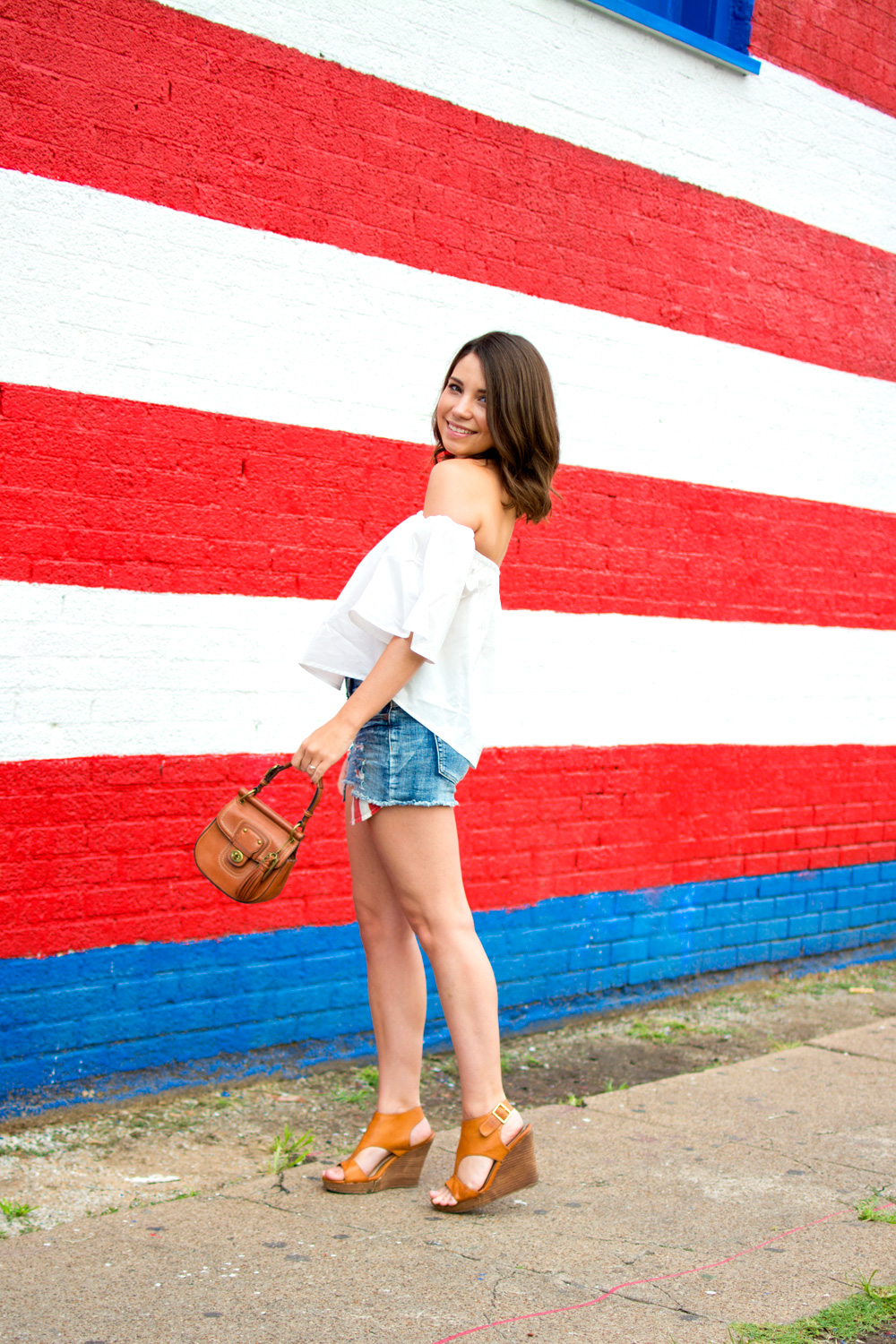 4th of July Outfit idea with cutoff shorts and white off the shoulder top