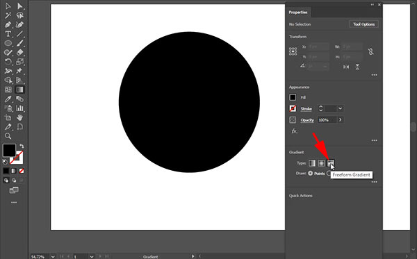 Choose Freeform Gradient from the Properties panel