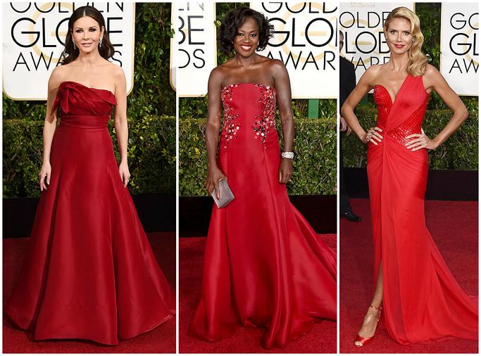 Catherine Zeta-Jones , Viola Davis in Donna Karen , Heidi Klum at Golden Globes Red Carpet
