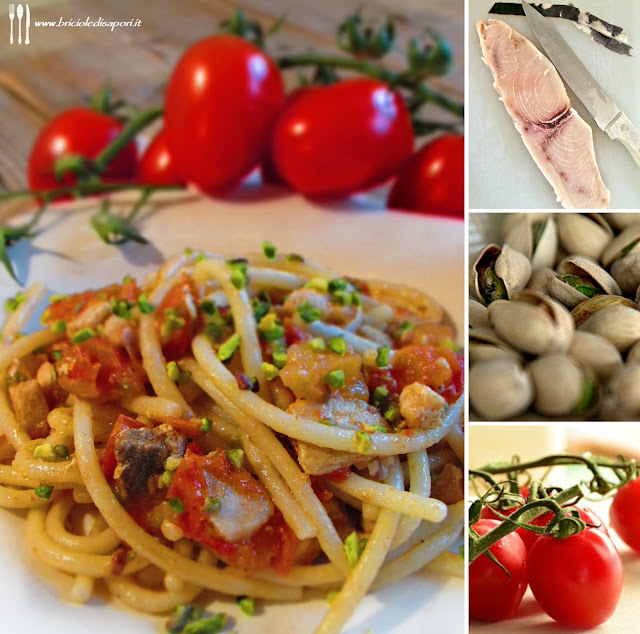 pasta con pesce spada pomodorini e granella di pistacchi