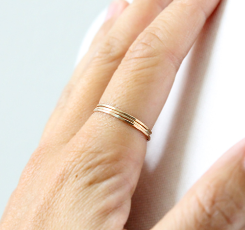 Thin gold rings by Peggy Li Creations
