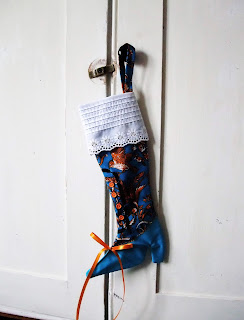 vintage textile Victorian Christmas boot by Karen Vallerius