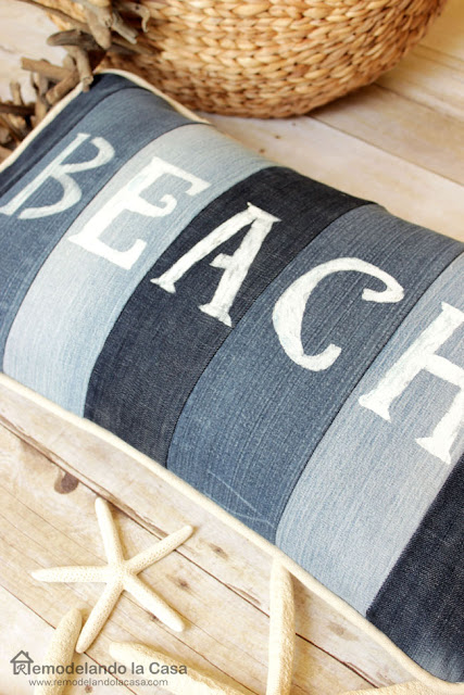 how to repurpose old jeans into a pillow