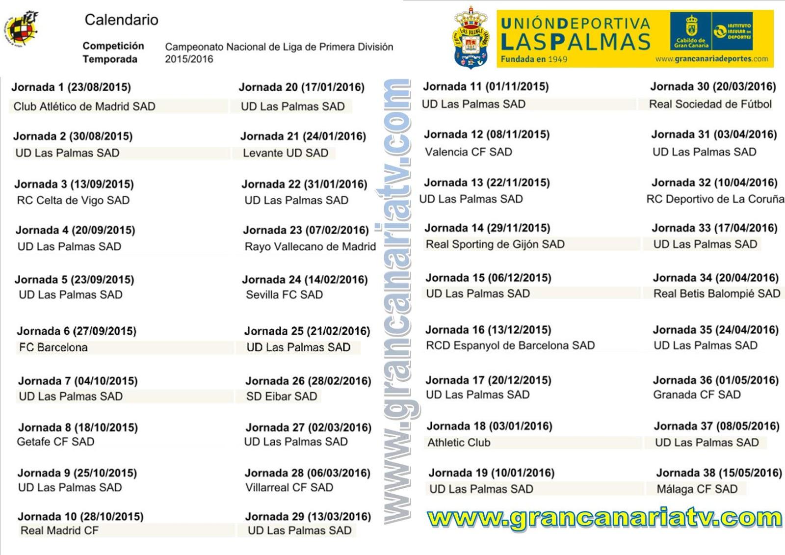 Calendario Ud Las Palmas.Calendario Completo De Ud Las Palmas Grancanariatv Com