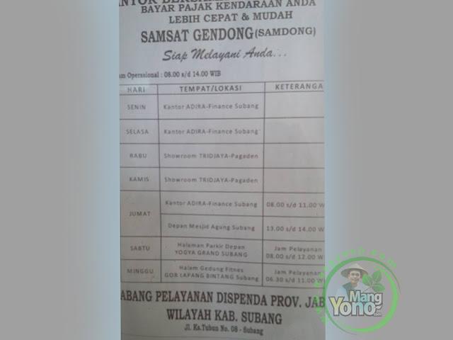Jadwal SAMDONG Subang, Jawa Barat.