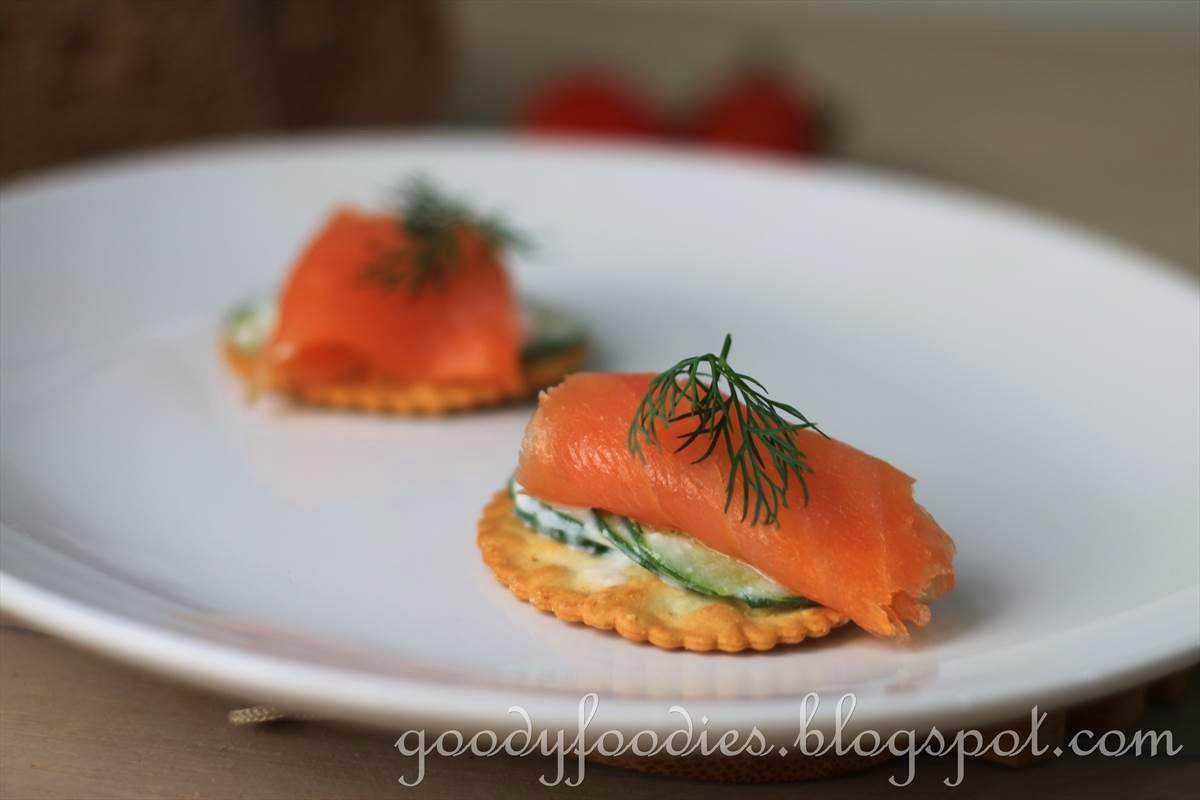 Goodyfoodies recipe smoked salmon and yogurt cucumber for The canape company