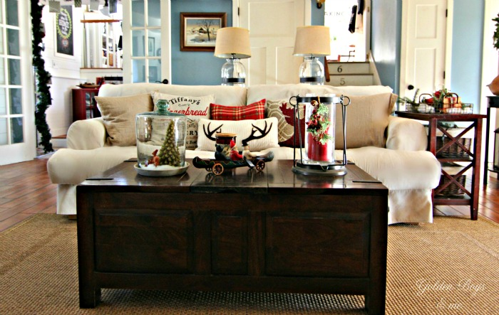 Ikea Sofa in family room at Christmas with rustic decor - www.goldenboysandme.com