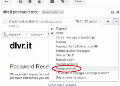 Come vedere le intestazioni delle email su gmail