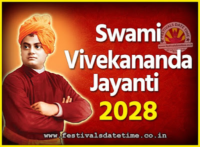 2028 Swami Vivekananda Jayanti Date & Time, 2028 National Youth Day Calendar