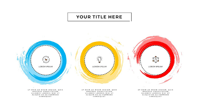 Infographic 3 Circular Brush Style Banners in PowerPoint Presentation
