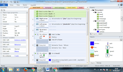 menambahkan event sheet pada construct2
