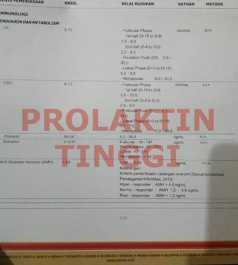 Hasil Tes Hormon Prolaktin Tinggi (LAB PRAMITA)
