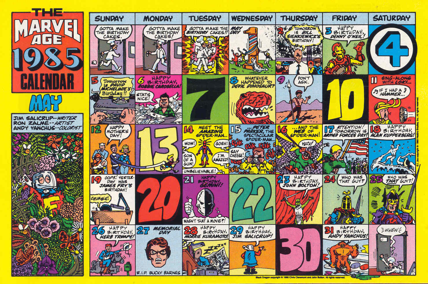 Marvel Comics Of The 1980s 1985 Marvel Age May Calendar