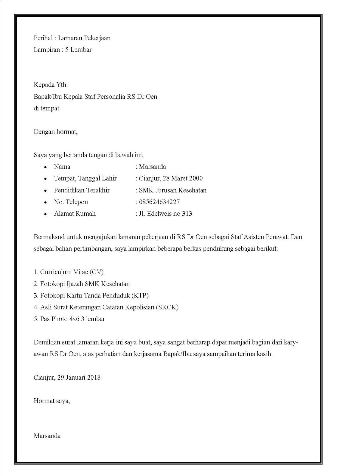 Contoh Surat lamaran di rumah sakit lulusan SMK