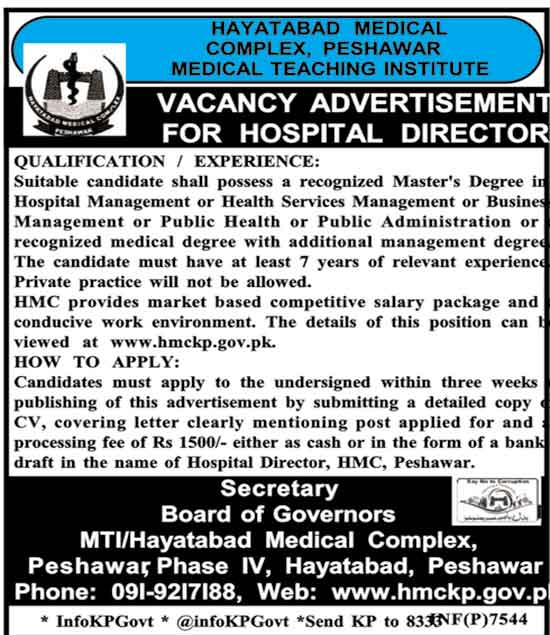 Hayatabad Medical Complex Peshawar Teaching Institution Jobs