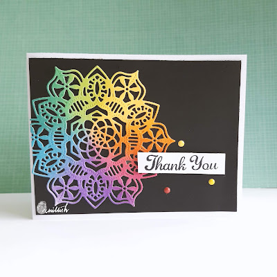 die cut, distress inks, CAS card, Quillish, thank you cards, card for teachers, card for professors, cards by ishani, inkblending, rainbowcolorblending, rainbow colour card