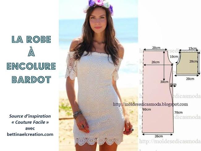 Mode de l t robe aux paules d nud e tuto gratuit for Couture a fronce