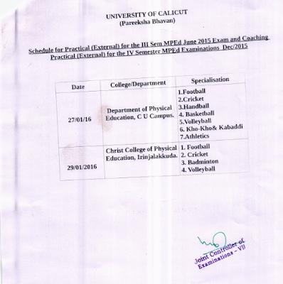 Exam Schedule Jan 2016 of M P Ed in Calicut University