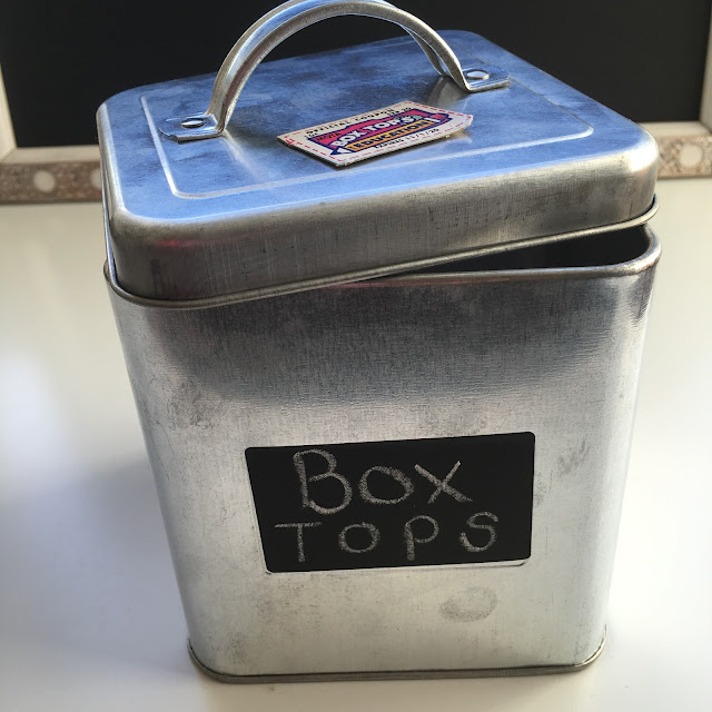 Found this galvanized metal canister in the Target Dollar Spot!  Perfect for collecting Box Tops for Education!