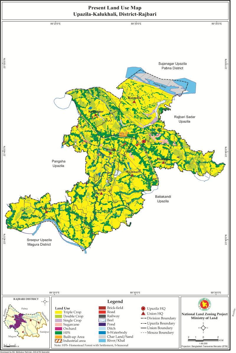 Kalukhali Upazila Mouza Map Rajbari District Bangladesh