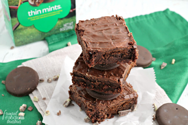 These Easy Thin Mint Stuffed Brownies are stuffed with your favorite Girl Scout cookies & a double dose of Andes mints. A chocolate & mint lover's dream come true.