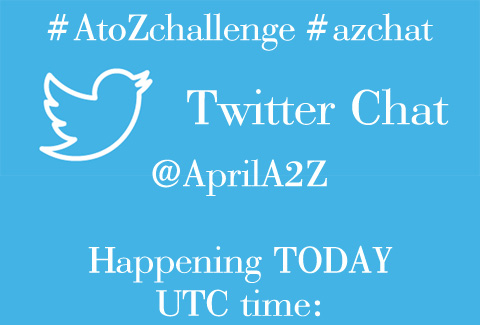#azchat #atozchallenge Twitter chat announcement image