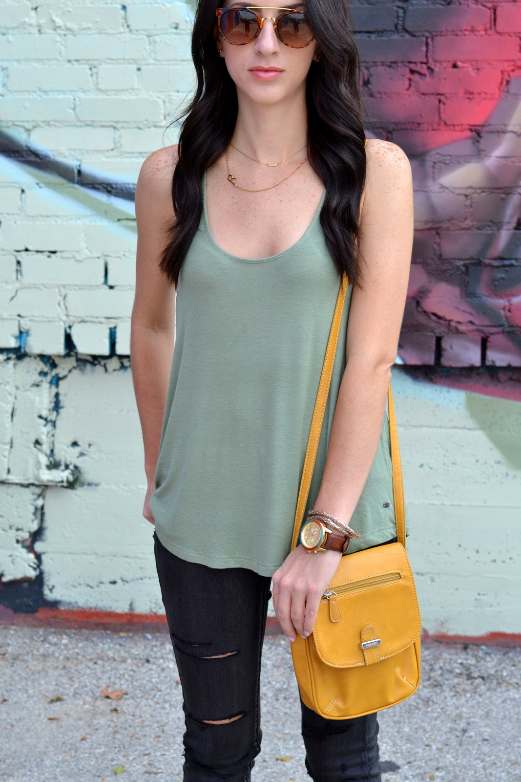Loose Tank, Initial Necklace, Distressed Jeans