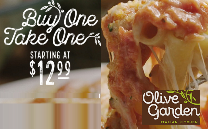 Olive Garden Buy One Meal Take One Meal Home For Unlimited Bread Sticks And Soup Or