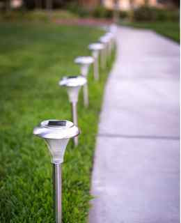 Stainless steel solar lights.