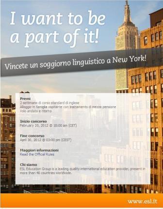 Concorso con in palio un soggiorno linguistico a new york for Soggiorno new york