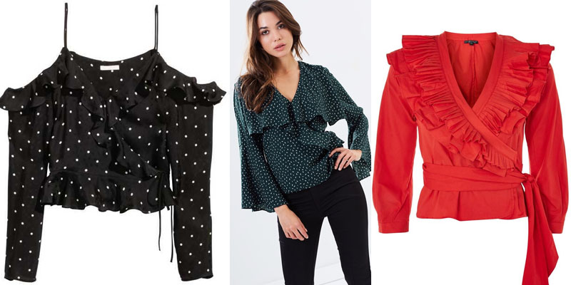 buy ruffle wrap tops under $100