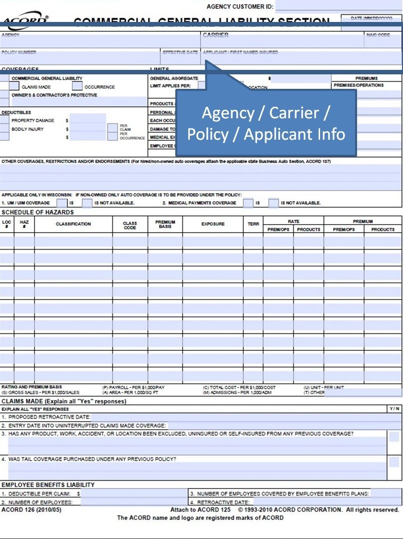 Simply Easier Acord Forms How To Complete The Acord 126 Commercial