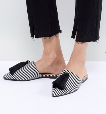 RAID Karin Black Mono Striped Flat Mules