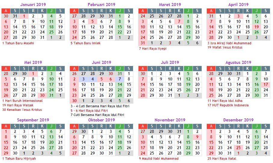 Kalender 2019 Masehi Indonesia Lengkap Libur Nasional Libur Nasional