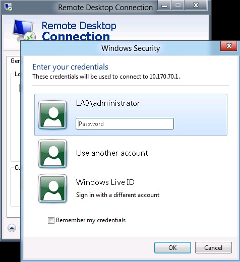 Remote Desktop Credentials Windows 10