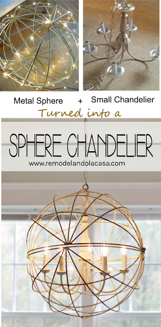 metal orb/sphere, small chandelier, rusty feel, annie sloan Duck Egg glue chalk paint,
