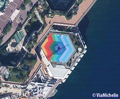 Aerial view of Auditorium Rainier III in Monte Carlo, Monaco