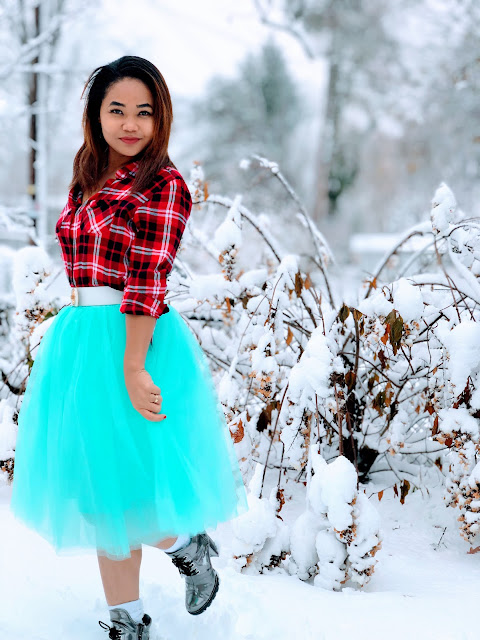 Tulle skirt  and winter boots for Christmas