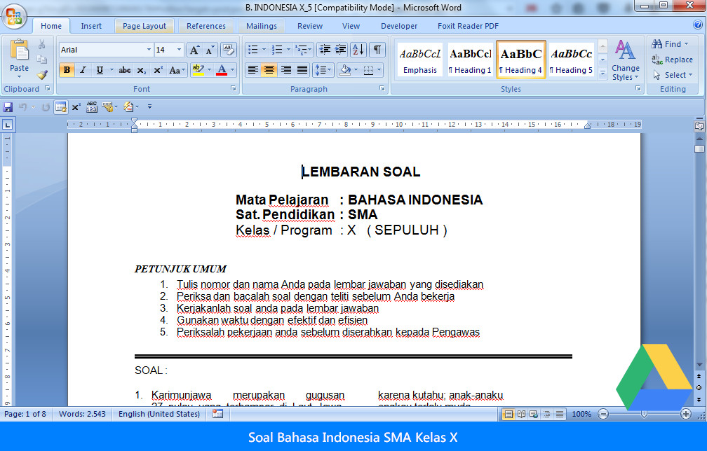 11 Soal Bahasa Indonesia SMA Kelas X Terbaru 2016