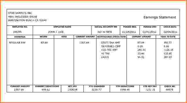 5 Printable Pay Stub Templates in Word Format - Excel Template - free check stub templates
