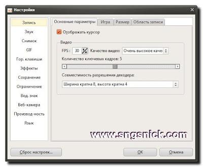oCam 391.0 Portable - Настройки Запись