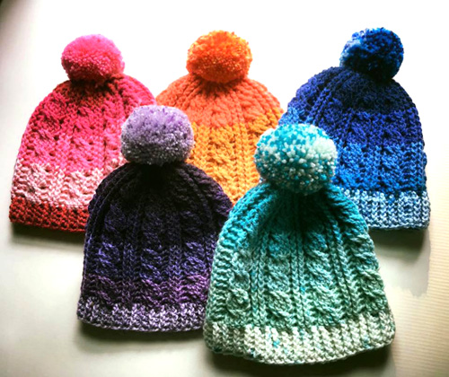 Beautiful Skills - Crochet Knitting Quilting : Caron Cakes Cable Hat ...