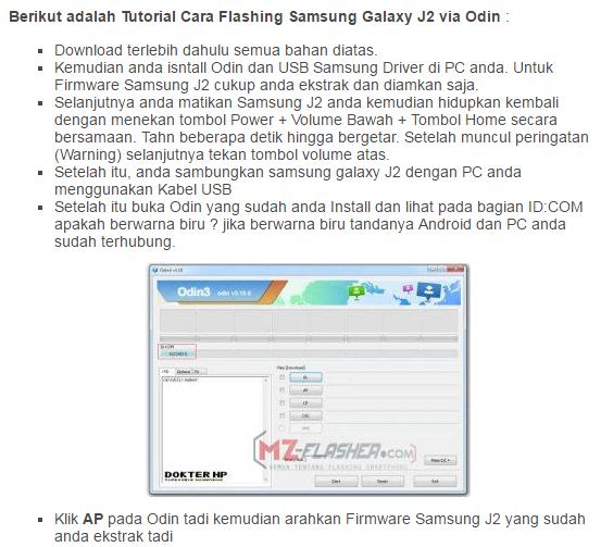 Cara Flash Ulang Samsung Galaxy J2