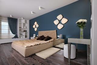 habitación paredes azules